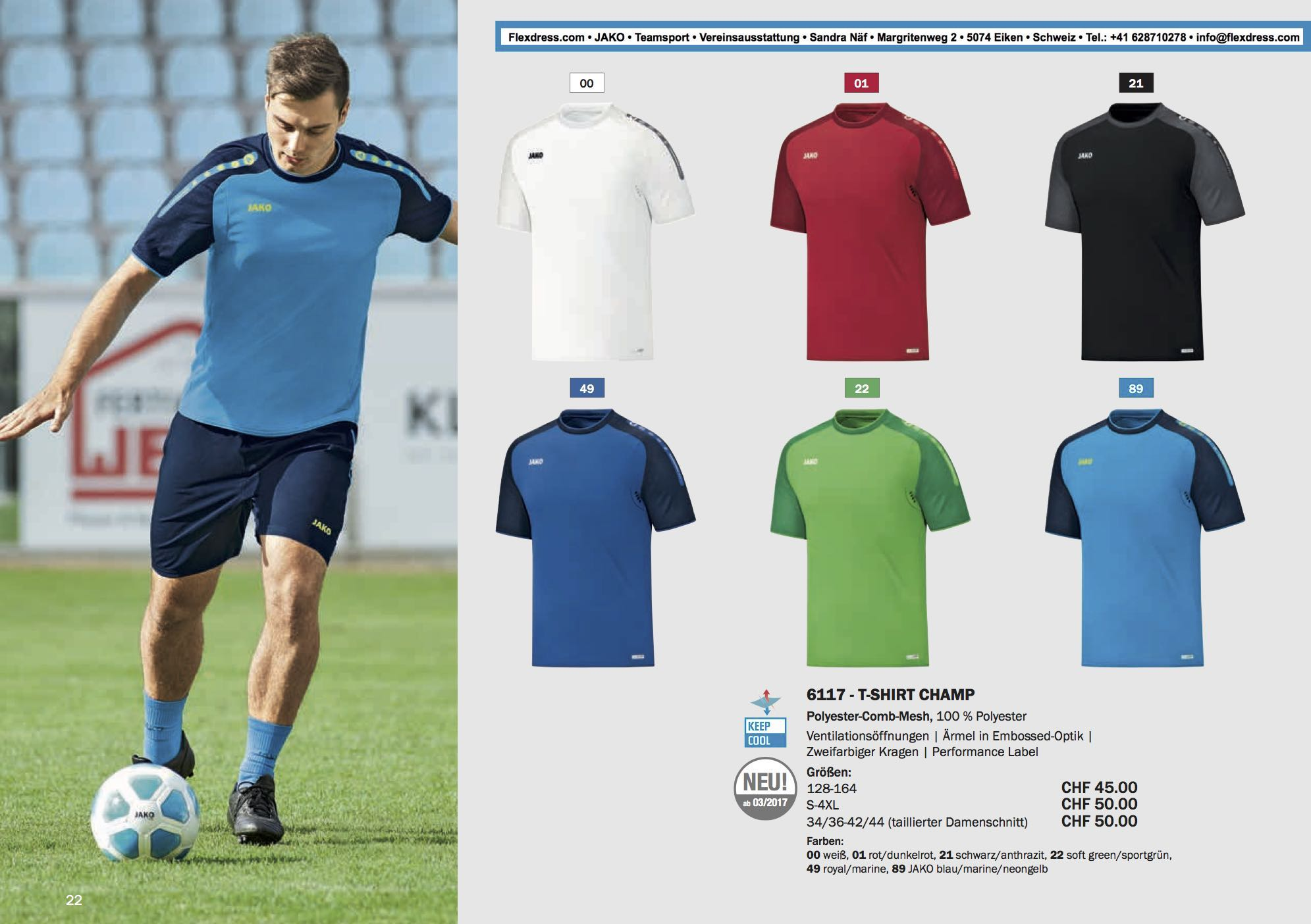 competitive price b7dbe 946ef JAKO Teamsport Katalog 2017 024 Champ T-Shirt bedrucken ...